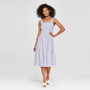 Who What Wear Blue and White Smocked Dress